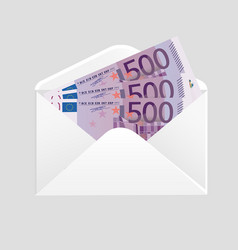 open envelope and 500 euro bills cash vector image