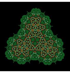 Oriental ornamental triangle on black Colorful vector image