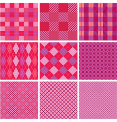 Set of plaid seamless patterns in pink colors vector image vector image