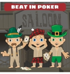 Three cowboys beat in poker in the saloon vector image