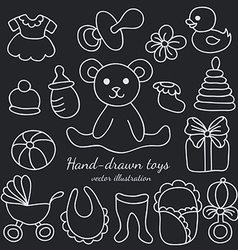 Hand-drawn Baby Goods and Toys Set vector image vector image