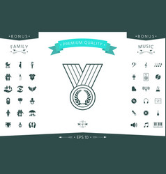 medal with laurel wreath line icon vector image