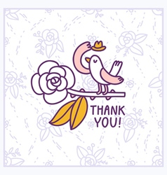 Thank you floral birdie card vector image vector image