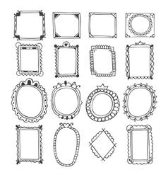 Vintage hand drawn frames Doodle set of design vector image