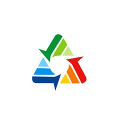 circle arrow triangle technology logo vector image vector image