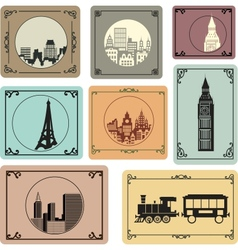 Cities in retro style vector image vector image