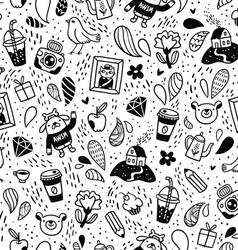 Fun doodle seamless pattern vector image
