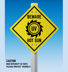 road warning sign about sun uv radiation vector image