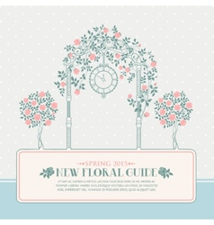 Vintage card with arch and roses vector image