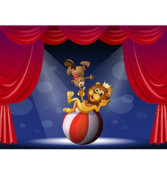A lion and a beaver performing at the stage vector image vector image
