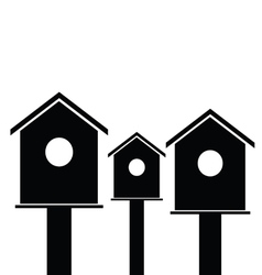 birdhouses wooden black vector image