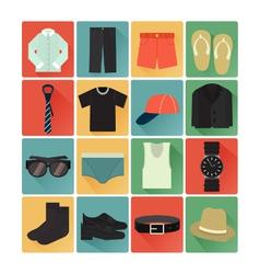 flat icons costume gentleman vector image