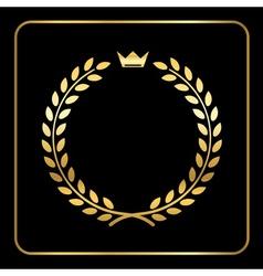 Gold laurel wheat wreath icon crown vector image