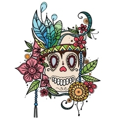 Hand drawn color skull in flowers and vector image vector image
