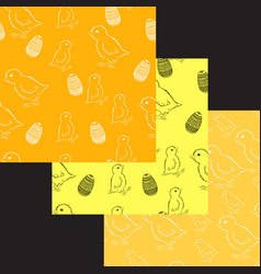 set of easter chick patterns vector image vector image