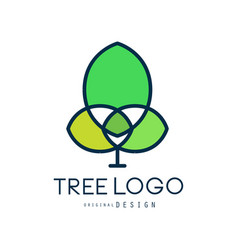 ttree logo original design green bio badge vector image