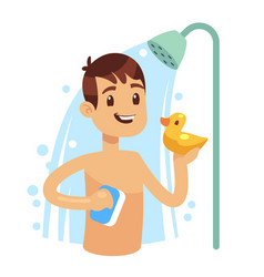 Young man taking shower in bathroom guy washing vector