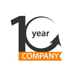 10 year company logo template design vector