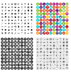 100 tourist camp icons set variant vector