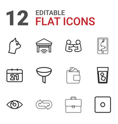 12 pictograph icons vector