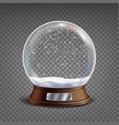 3d classic snow globe glass sphere with vector