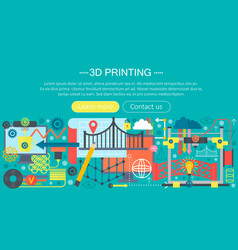 3d printer technology flat concept set 3d vector image