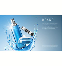 3d realistic cosmetic product spray bottle and vector