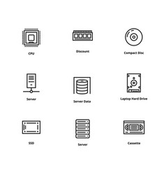 9 memory line icons vector image