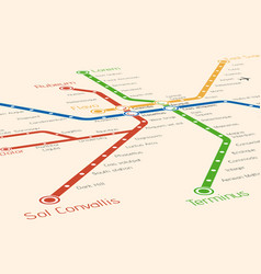 Abstract metro or subway map design template vector