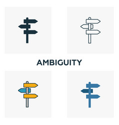 Ambiguity icon set four elements in diferent vector