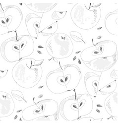 apple slices hand drawn outline seamless pattern vector image