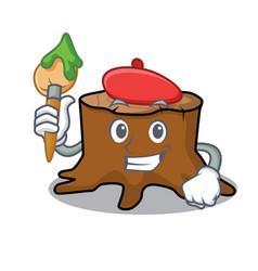 artist tree stump character cartoon vector image