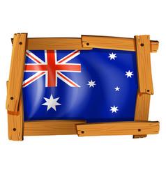 Australia flag in wooden frame vector