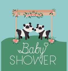 baby shower card with cute bears panda couple vector image
