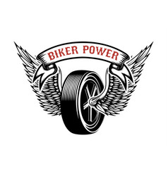 Biker power emblem with winged wheel design vector