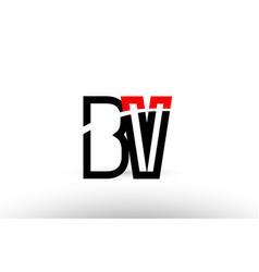 Black white alphabet letter bv b v logo icon vector