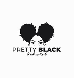 black woman with afro ponytail hairstyle logo vector image
