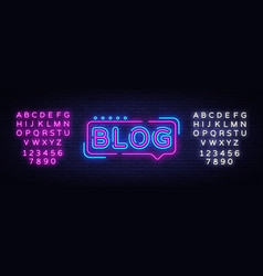 blogging neon text design template blog vector image