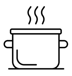 Boiling water pot icon outline style vector