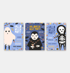 bundle of halloween party invitation flyer or vector image