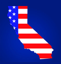 california state map with american national flag vector image