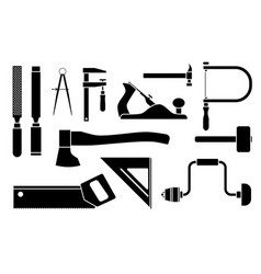 carpentry icons woodwork tool set vector image