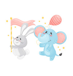 Cartoon hare and elephant in parade vector