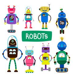 cartoon kids robots set vector image
