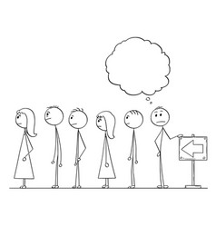 Cartoon of man waiting in line or queue with vector