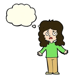 Cartoon worried woman with thought bubble vector