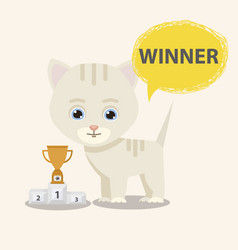 cat winner with victory cup vector image