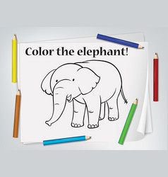 children elephant coloring worksheet vector image