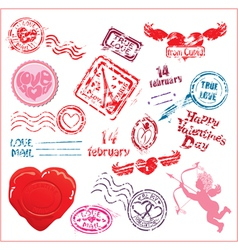 Collection love mail design elements - postmark vector