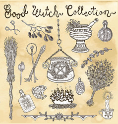 Collection with witch objects for halloween vector